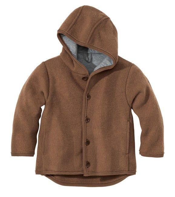 Detská bunda z merino vlny hnedá