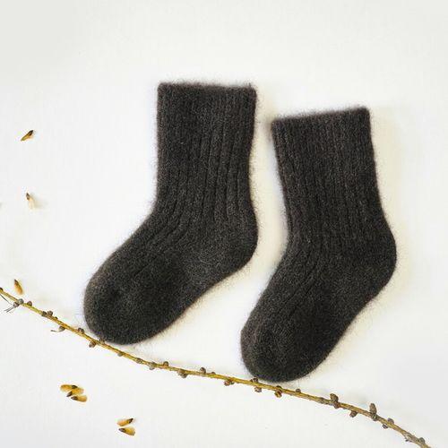Detské vlnené ponožky Tmavohnedý jak